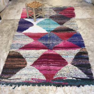 Kilim boucherouite N° 1183 - Aquarelle, tapis coloré, en coton, home & deco, room rug, tapis marocain, handmade, marrakech