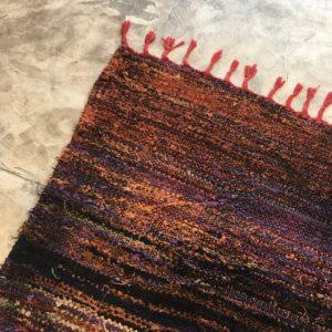Kilim Boucherouite N°2013 - Marine, tapis en coton, bleu marine, hall rug, contemporain & modern, interior design, marrakech
