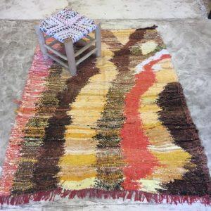 Kilim boucherouite n°2020 - Tonic, tapis en chutes de coton, dégradé du marron, orange, handmade, contemporain artisanat, marocain, salon, chambre deco, home design d'intérieur, marrakech rugs, tapis berbère