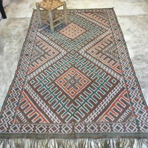 Kilim n°2034 - Caramel, tapis marocain, handmade, , vert, orange, wool, tressé à plat, artisanat du maroc, home, salon moderne, interior design