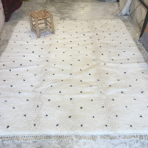 Beni Ouarain N°2044 - Dlamatien, tapis en laine, blanc et noir, handmade in morocco, atlas mountain rugs, deco, home, salon contemporain, artisanat du marrakech