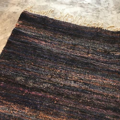Kilim Boucherouite N°544 - Marine, tapis en coton, bleu marine, hall rug, contemporain & modern, interior design, marrakech