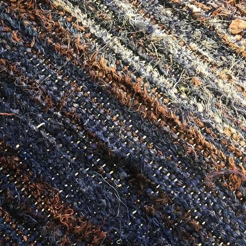 Kilim Boucherouite N°544 - Marine, tapis en coton, bleu marine et marron, hall rug, contemporain & modern, interior design, marrakech