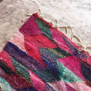 Kilim boucherouite N°336 - Carnaval, tapis berbère, chutes de coton, fabriqué artisanalement au maroc, moroccan handmade rug,
