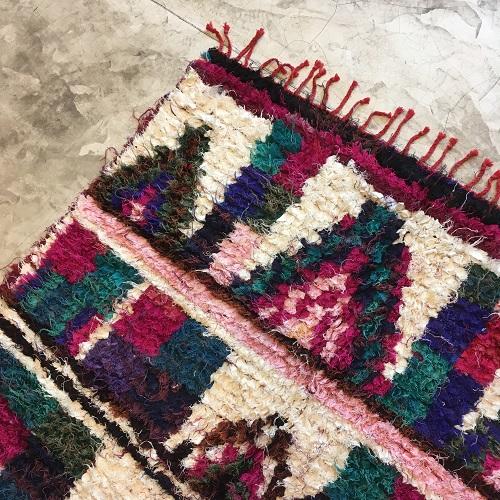 Boucherouite n°657 - Java, tapis multicolors, handmade rug, chutes de coton, girly rug, artisanalement fait au maroc, berber women crafts, deco, chambre