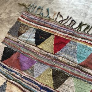 kilim boucherouite N°677 - Nachos, colored moroccan rug, made of cotton scraps, old marrakech handicrafts, deco, interior design