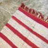 Kilim Boucherouite N°732 - Vanille fraise, tapis rose et blanc, fait à la main en chutes de coton, au maroc, girly rug, home