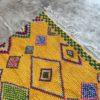 Boucherouite n°754 - Pikachu, tapis marocain, jaune, coton, recyclé, handmade, deco, couleur vive, tapis traditionel, motifs berbère, interior design, life, summer, marrakech