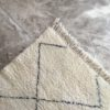 Beni Ouarain N°774 - Ascenseur, tapis en laine, blanc et noir, hand-knotted in morocco, berber women crafts, couloir, contemporain runner