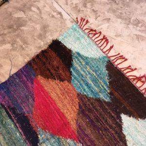 Kilim boucherouite N°791 - Masque, tapis coloré, en coton, home & deco, room rug, tapis marocain, handmade, marrakech