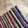 Boucherouite n°803 - Abricot, tapis en coton, noué, handmade in morocco, descentes de lit, tapis room, kids, man crafts, marrakech artisanat
