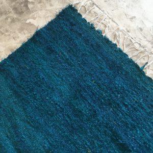 Kilim boucherouite N°815 - Canard, tapis bleu canard, artisanat du maroc, atlas mountain rugs, room rug, home & deco, modern