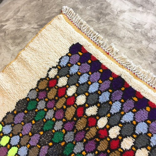 Beni Ouarain N°836 - Chips, tapis en laine, coloré, hand made in morocco, artisanat, berber rug, coton, home & co, rugs of atlas mountains, decoration salon, chambre