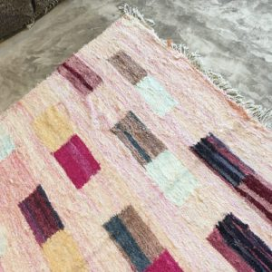 Kilim Boucherouite N°872 - Cube, tapis en coton, rose, room rug, modern decoration, design d'intérieur, marrakech tapis,maroc
