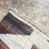 Kilim boucherouite n°967 - Totem, blanc et marron, deco, home, coton recyclé, tapis chambre, salon contemporain, handmade rug, marrakech artisanat