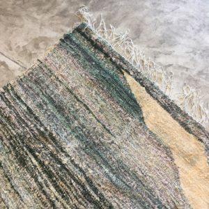 Kilim boucherouite n°960 - Lagune, tapis berbère, chutes de coton, vert et jaune, handmade in morocco, artisanant du marrakech, salon contemporain, deco, bureau, home, design d'intérieur, recycled cotton, modern rug