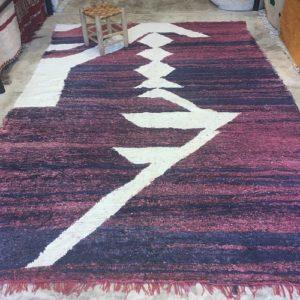 Kilim boucherouite n°961 - Eclair, tapis en chutes de coton, dégradé de violet, blanc, handmade, contemporain artisanat, marocain, salon, chambre deco, home design d'intérieur, marrakech rugs, tapis berbère