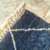 Beni Ouarain n°968 - Fond marin, handmade rug, wool, tapis marocain, noué, salon contemporain, bleu, canapé en cuir, deco, home, interior design, marrakech artisanat