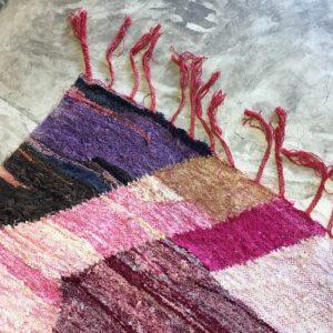Kilim boucherouite n°962 - Sakura, tapis marocain, chutes de coton, handmade, marrakech artisanat, salon contemporain, coloré