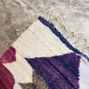 Kilim Boucherouite N°993 - Aquarelle, tapis rose, girly rugs, Maroc, Marrakech, interieur design