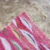 Kilim Boucherouite n°995 - Tropical, tapis berbère, fait à la main, moroccan rugs, rose et motifs colorés, rag rug, emerald green, couloir, home, interior design, décoration moderne