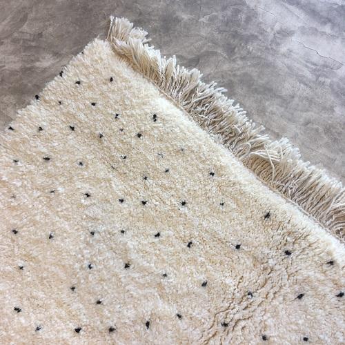 Beni Ouarain N°1008 - Dlamatien, tapis en laine, blanc et noir, handmade in morocco, atlas mountain rugs, deco, home, salon contemporain, artisanat du marrakech