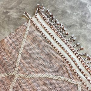 Zanafi n°1016 - Moka, tapis tissé, wool, hand woven, orange, marron, deco, salon contemporain