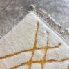 Beni ouarain n1017- Miel, blanc, brodé jaune, laine, épais, handmade, knotted, marrakech, morocco rug