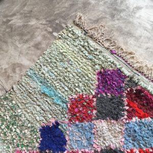 Boucherouite n°1033 - Nympheas, tapis coloré, chutes de coton, modern, déco & design d'intérieur, tableau, marrakech artisanat