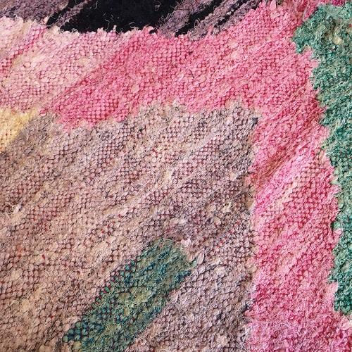 Kilim Boucherouite N°1082 - Gouache, tapis en coton, fabriqué à la main par des femmes berbères, marrakech artisanat, décor, salon