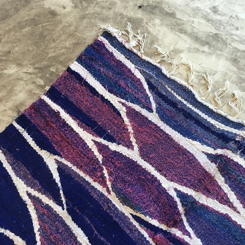 Kilim Boucherouite N°1080 - Purple rain, tapis violet, blue, salon, maroc, atlas montagnes tapis, beldi, deco, modern