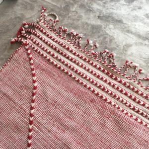 Zanafi N°1115 - Roi de coeur, rouge, tapis en laine tressé à plat, hand woven in Morocco, rug, deco & design, marrakech artisanat, home