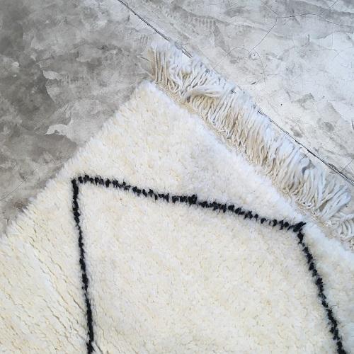 Beni Ouarain n1112/1113 - Zig&Zag, tapis en laine, berber rug, handmade,, blanc, noir, motifs berbère, artisanat du maroc, home, deco, design d'intérieur, tapis entrée, chambre, kids, carpet