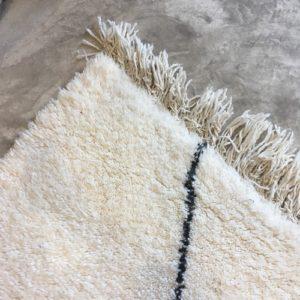 Beni ouarain n1106 - Neige, blanc, brodé, laine, épais, handmade, knotted, marrakech, morocco rug