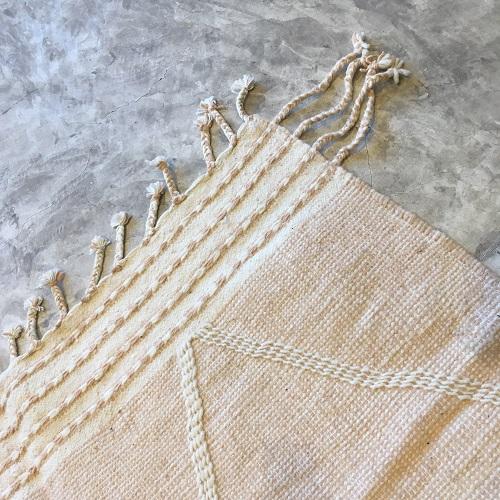 Zanafi n°1149 - Peach, tapis tissé, noie, laine, handmade, moroccan rug, furniture, deco, entrée, kids room, artisanat de marrakech, motifs blancs, design d'intérieur