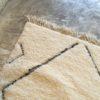 Beni ouarain n1150 - Santa cruz, blanc, brodé, laine, épais, handmade, knotted, marrakech, morocco rug
