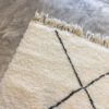 Beni ouarain n1152 - Neige, blanc, brodé, laine, épais, handmade, knotted, marrakech, morocco rug