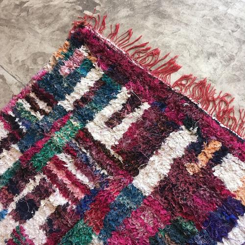 Boucherouite n°764 - Flora, tapis coloré, chutes de coton, modern, déco & design d'intérieur, rose, girls room, marrakech artisanat