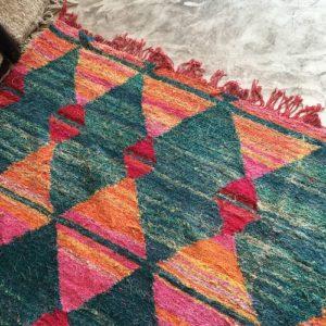 Kilim Boucherouite N°755 - Jacquard, tapis en chutes de coton, colored rug, made in morocco, design intérieur, home & deco,