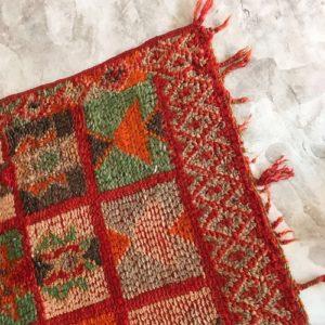 Boujaad n°373 - Khenifra, tapis en laine, berber rug, handmade, colored, red, motifs berbère, artisanat du maroc, home, deco, design d'intérieur, tapis entrée, chambre, kids, carpet